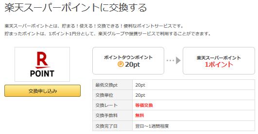 ポイントタウンは楽天スーパーポイントに1円から交換できる1.png