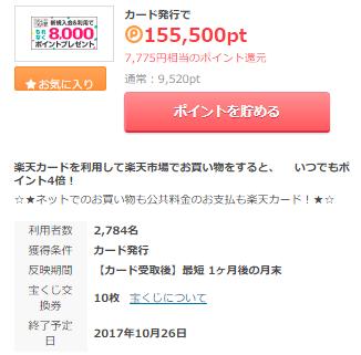 楽天カード発行だけで15,775円(楽天8000P+7,775円)10月26日まで・ポイントタウン経由