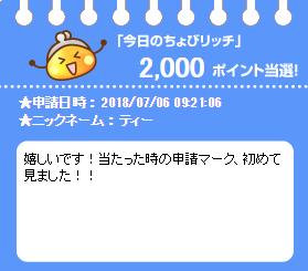 【祝】今日のちょびリッチ当選!十一度目!ちょびとも様が当たりました!