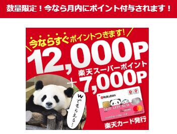 今なら月内にポイント付与!楽天カード発行で19,000円(楽天7000P+12,000円)ライフメディア経由