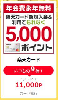 楽天カード発行で16,000円(楽天5,000P+11,000円)ライフメディア経由