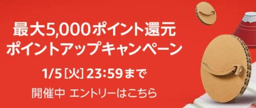 Amazonのポイントアップキャンペーンで最大5000P還元開催中!福袋やセールあり