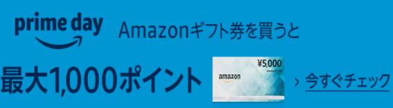 急いで!Amazonギフト券(配送タイプ) 5,000円購入で最大1,000ポイント貰える!