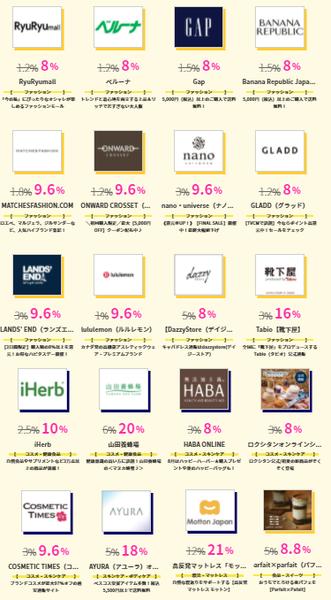 ハピタスデー、iHerb10%還元ほか、40件が8%以上.png