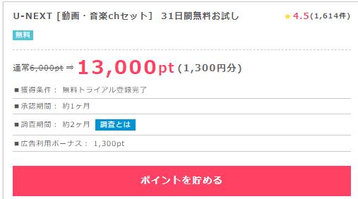 U-nextに31日間無料お試しで1650円お小遣いを貰おう・ポイントインカム経由