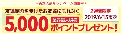 【本日まで】ポイントタウンに新規入会で5000P(250円)貰えます!2019年6月15日