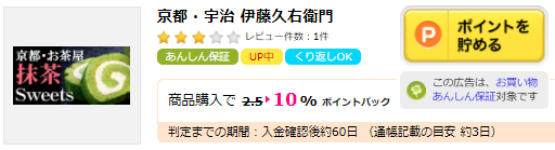 伊藤久右衛門でお得にお買い物する方法!ハピタス経由で10%還元